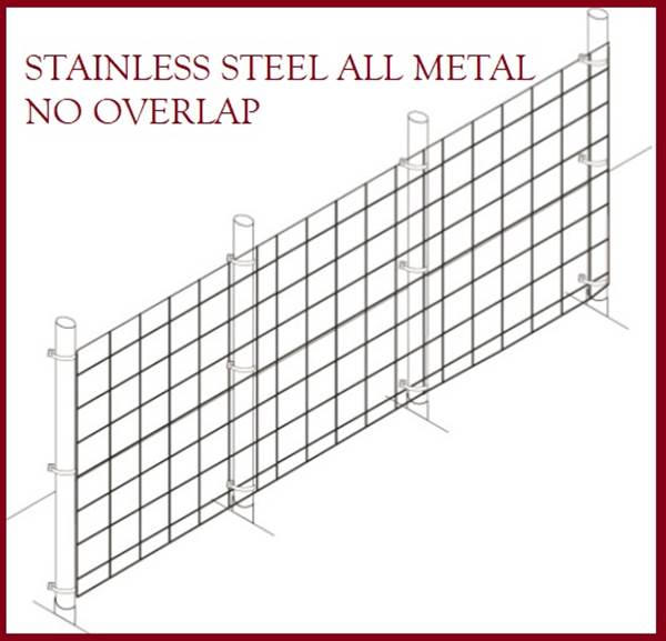Fence Kit 40s (6 x 100 All Metal STAINLESS 1.5 Grid) NEW - 685248509418s
